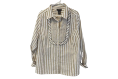 Lane Bryant Button Up Shirt Women's Size 18/20 White Striped Brown Ruffled