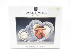 Vintage Royal Limited Crystal Heart Frame Clock Original Box Free Standing 1995