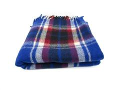 Wool O' The West Plaid Throw Blanket Fringe Ends Square 100% Wool Blue Red White