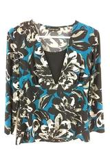 Briggs New York Women's Blue & Black Floral Long Sleeve Shirt Size Medium