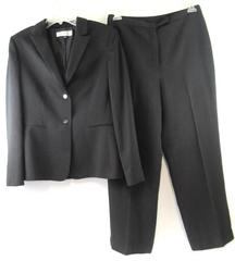 Tahari Aurthur S Levine Suit Black Pinstripes Blazer Slacks Pants Women's Sz 12
