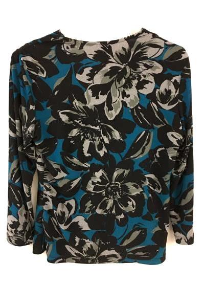 Briggs New York Women's Blue & Black Floral Long Sleeve Shirt Size Medium