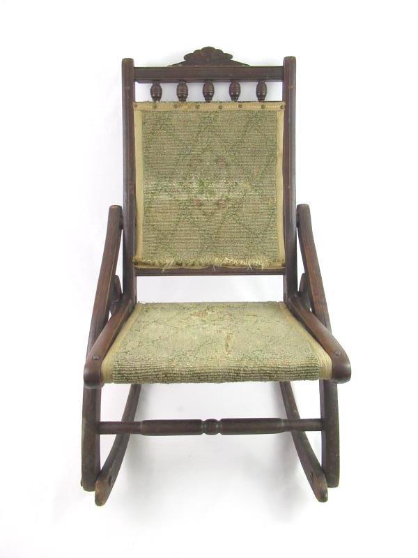Antique Victorian Folding Chair Children's Carpet Rocker Wood Frame