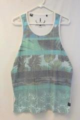 Jeans By Buffalo Men's Tropical Theme Tank Top Size XL Paisley Teal White Green