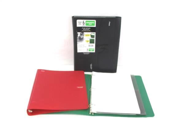 Back To School Binder Lot Expanding File Folder 2 Binders Paper