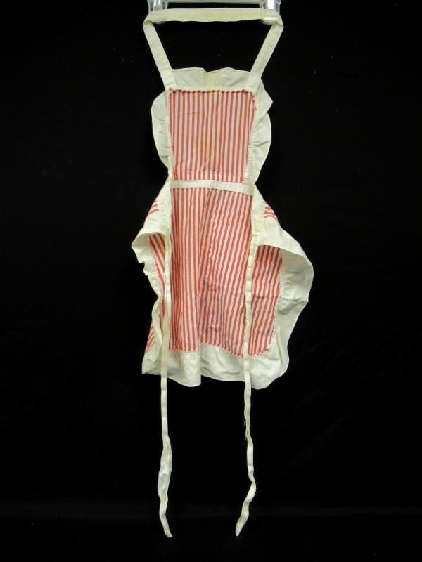 Vintage Child's Apron Red White Stripe Ruffles Pocket Tiebacks