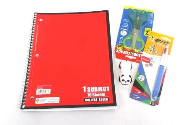 Back To School Supply Lot Spiral Notebook 2 Pack Scissors 4 Color Pen Stapler