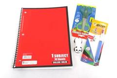 Back To School Supply Lot Spiral Notebook 2 Pack Scissors 4 Color Pen Stapler