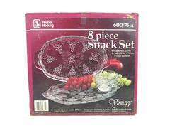 Vintage Anchor Hocking Vintage 8 Piece Snack Set w/ Box 4 Cups & Plates
