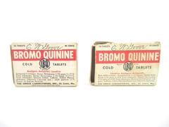 Lot of 2 Vintage C.W. Grove Bromo Quinine Cold Tablet Boxes Empty Cardboard