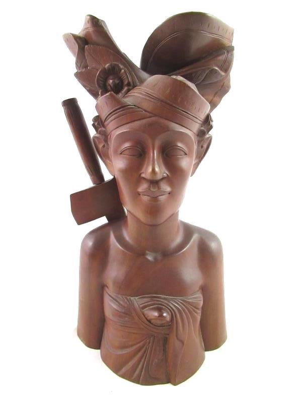 Pair Of Wood Carved Busts Man and Woman Keradjinan Bali Brown Décor