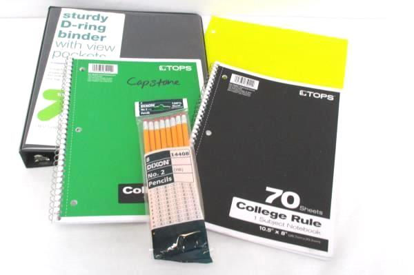 Back To School Binder Lot D Ring 1 Inch 2 Spiral Notebooks Folders Lot of Pencil
