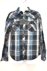 CJ Slim Fit Plaid Blue Black Gray Grey Long Sleeve Shirt XL by Black