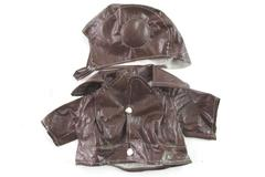 Vtg Baby Aviator Pilot Costume Faux Leather Hat Jacket See Measurements Brown
