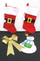 Christmas Decor Lot Hanging Gold Sparkle Bow Snowman 2 Santa Buckle Stockings