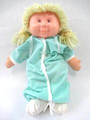 Vintage Blue Box Doll Lemon Blond Hair Brown Eyes Mint Green Pajamas