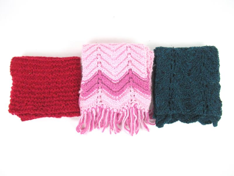 Lot of 3 Crochet Knit Scarfs Pink Red Teal Fringe Winter Accessories