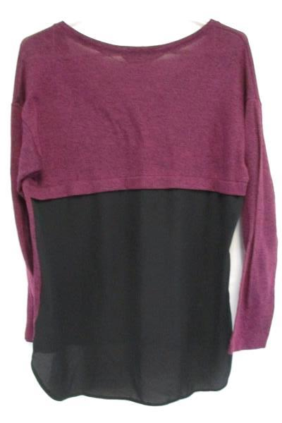 Love To Lounge Maroon Long Sleeved Hi Low Sheer Back Top Women's M