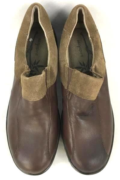 Women's Easy Spirit Dark Brown Leather Slip-On Clogs Shoes Size 8.5 M