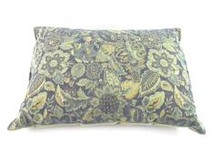 Floral Throw Pillow Tapestry Green Blue Yellow Woven Fleece Back Rectangle