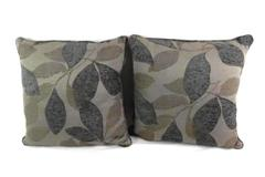 Set of 2 Gray Blue Throw Pillows Floral Leaf Design Textured 21.5in Square
