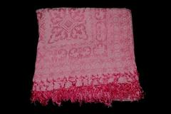 Hot Pink Tapestry Style Throw Blanket With Fringe Ends