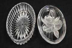 Vintage Oval Clear Glass Candy Dish With 3D Frosted Flower Lid