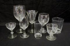 Lot of 8 Misc Replacement Bar Dining Glasses Goblet Tumbler Wine Hi Ball & More