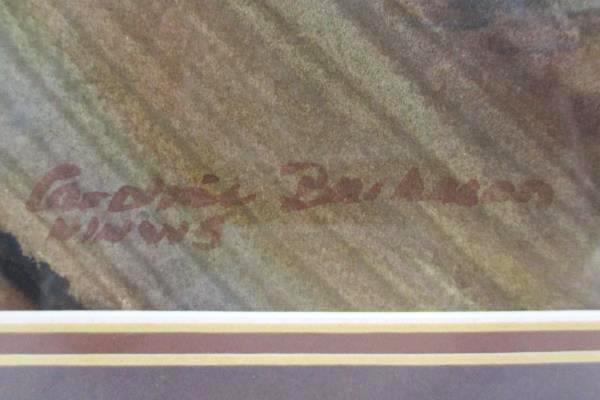 Orig Caroline Buchanan Framed Watercolor Painting Timber Wood Brown Signed Dated