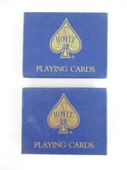 Lot of 2 Vintage Double Deck Boxes Hoyle Pinochle Playing Cards Blue