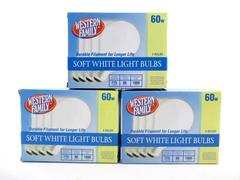 Lot of 12 Light Bulbs Western Family Soft White 60W 3 Boxes New