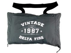 Port Authority Travel Blanket Foldable Zipper Vintage Delta Fire Gray