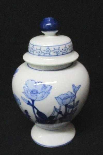 Hand Painted Porcelain Ginger Jar Blue & White Body Unfinished Lamp DIY Project