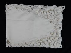 Vintage Floral Trim Table Runner Cut Out Cream Brown Bold Stitch