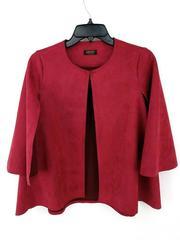 JAYLEY Cape Jacket Red Faux Suede Open Front Women's O/S
