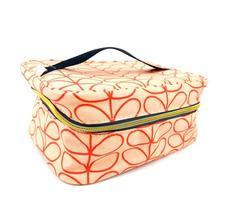ORLA KIELY Makeup Bag Travel Tote Coral Floral Waterproof 9 x 7 x 4.5