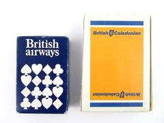 Lot of 2 Vintage British Airway Playing Cards Miniature Deck Plastic Coated