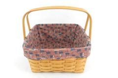 Longaberger Basket Square Shaped Double Handle American Old Glory Button Liner