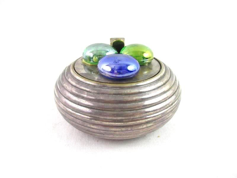 Vintage Round Silver Plate Ash Tray With Lid And Handle Ribbed Marbles On Top