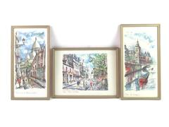 Lot of 3 Framed Paris Watercolor Landscape Prints By Arno