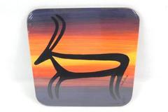 Heidi Lange Decorative Trivet Cork Back Antelope Deer Orange Tones Sealed
