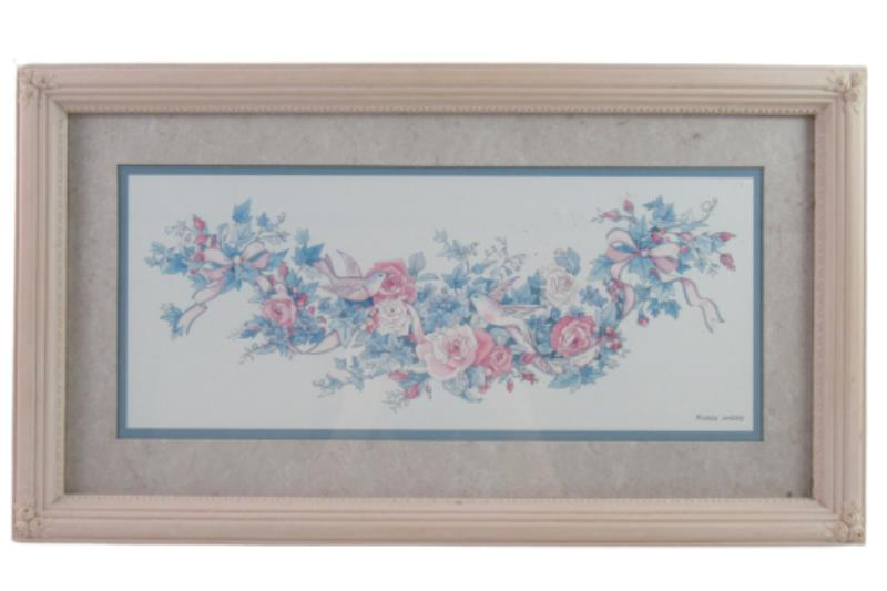 Framed And Matted Dove and Roses Print by Karen Avery