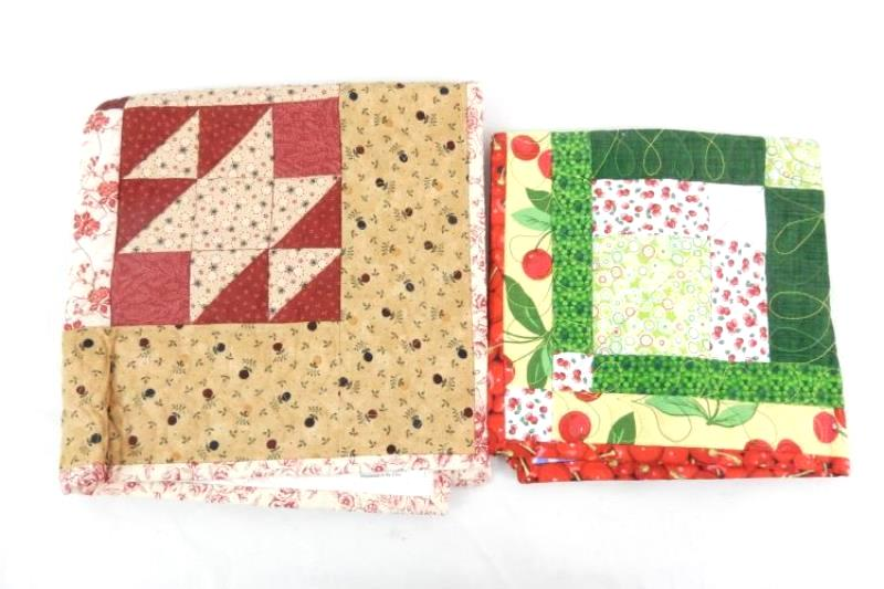 Lot of 2 Quilted End Table Cloths Small Square Cherries Floral Patchwork