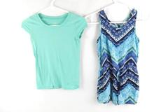 Lot of 2 Justice Girls Clothes Romper Tee Shirt Size 8 Teal Blue Green