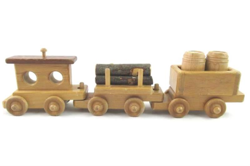 Handmade Wood Train Set 5 Piece Small Brown Toy Collectable