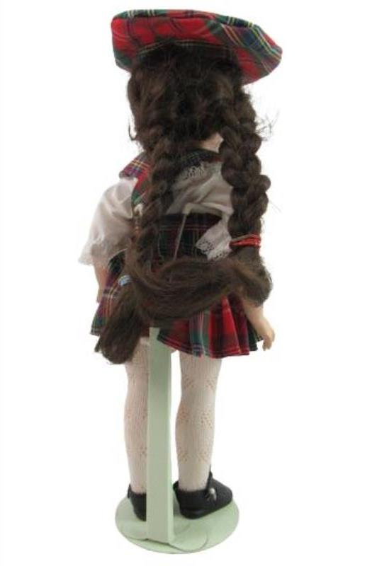 Vintage Jointed Composition Doll Brown Hair Red Green Plaid Jumper Tam Stand