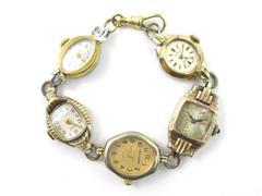 Vintage Artisan Made Bracelet 5 Repurposed Watch Cases 8 Inch