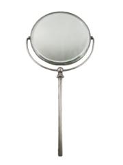Vintage Silver Plate Swivel Head Beveled Edge Hand Mirror 6 Inch Round
