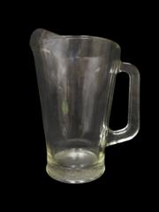 Vintage Heavy Clear Milk Water Glass Pitcher Textured Bottom 9 in