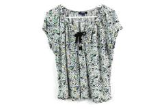 Chaps Floral Lace Up Front Tee Shirt Women's Size Large Blue Yellow White